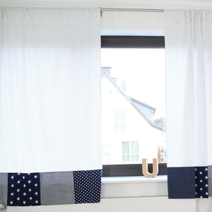 "Baby Room Curtains – 100% Cotton Baby Curtains, Baby Nursery Curtains, Blue with Stars, 110"" x 84"""