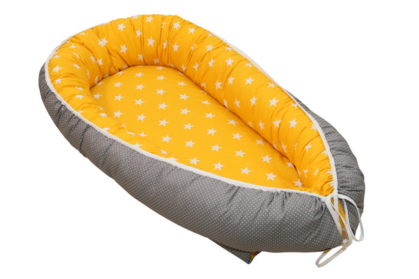 "Baby Lounger – Baby Sleeper Bed, Infant Nest, Yellow with Stars, 22"" x 37"""