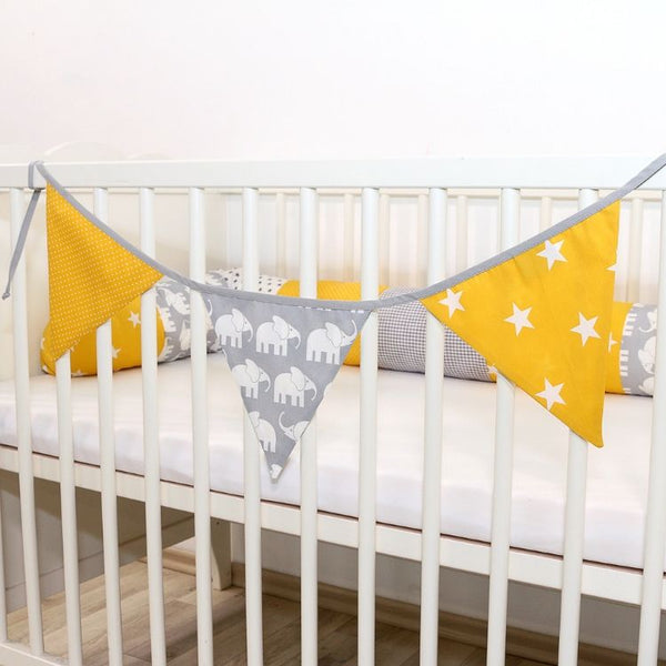 Fabric Banner Nursery Decor – Pennant Banner Decoration, Elephant Yellow, 4 ft.
