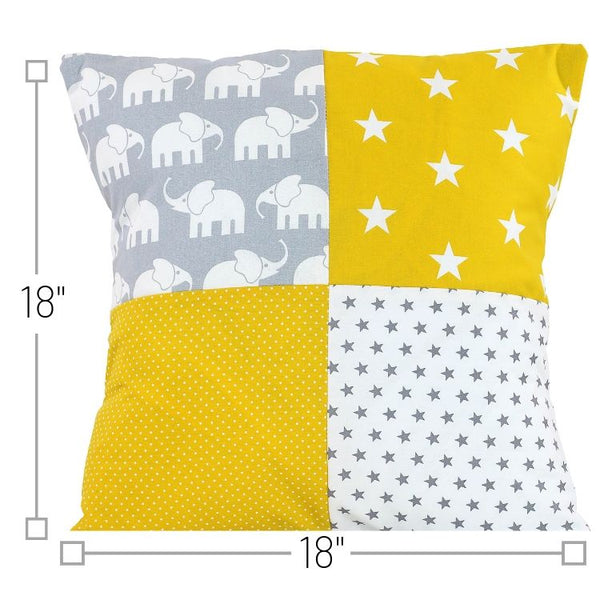 "Nursery Pillow Cover – Organic Cotton Baby Pillow Cover, Elephant Yellow, 18"" x 18"""