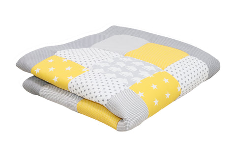 "Padded Baby Play Mat – Soft Cotton Baby Crawling Mat, Elephant Yellow, 47"" x 47"""