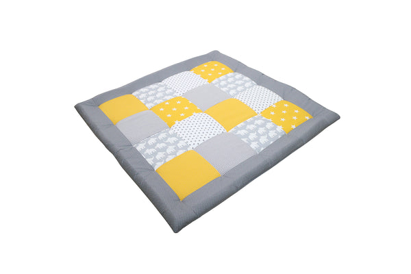 "Padded Baby Play Mat – Soft Cotton Baby Crawling Mat, Elephant Yellow, 40"" x 40"""