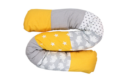 Snake Pillow – Bumper Pillow, Long Pillow For Baby, Elephant Yellow, 63""