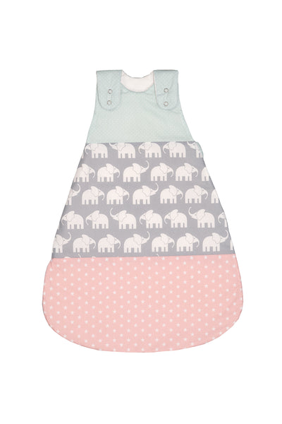 Sleep Sack – Baby Sleeping Bag, Wearable Blanket, Mint and Pink with Elephants, 0-6 Months