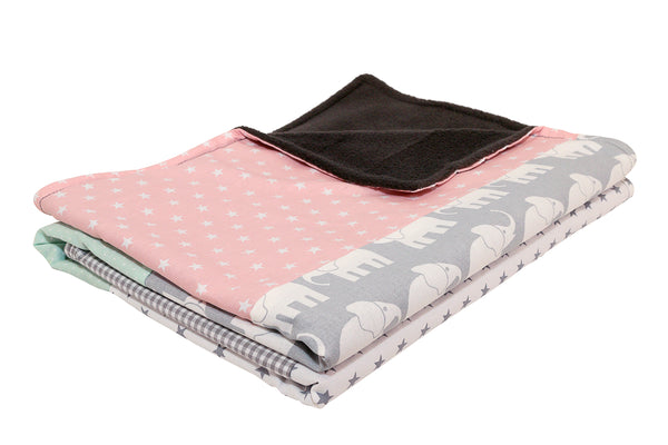 "Luxury Baby Blanket – Organic Cotton Baby Blanket, Elephant Mint Pink, 27"" x 39"""