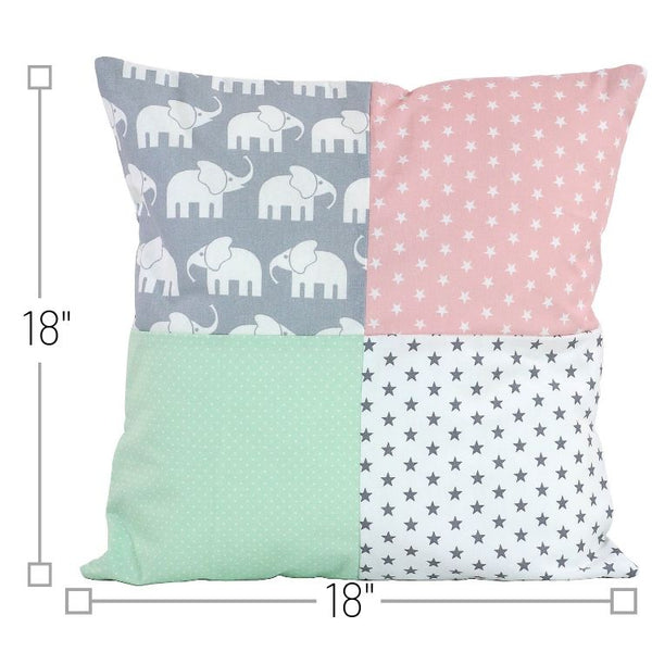 "Nursery Pillow Cover – Organic Cotton Baby Pillow Cover, Elephant Mint Pink, 18"" x 18"""