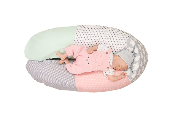 "Organic Nursing Pillow – Best Pregnancy Pillow for Side Sleepers, Elephant Mint Pink, 75"" x 15"""