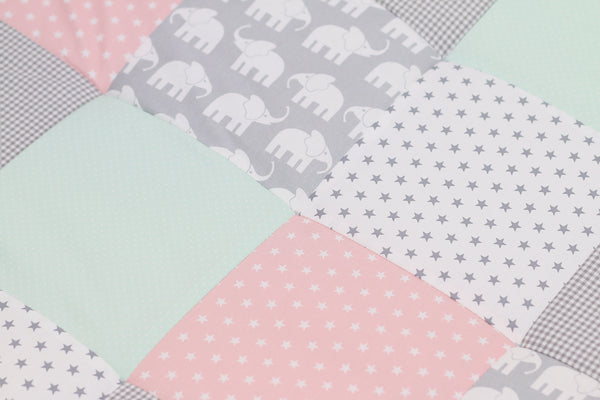 "Padded Baby Play Mat – Soft Cotton Baby Crawling Mat, Elephant Mint Pink, 40"" x 40"""