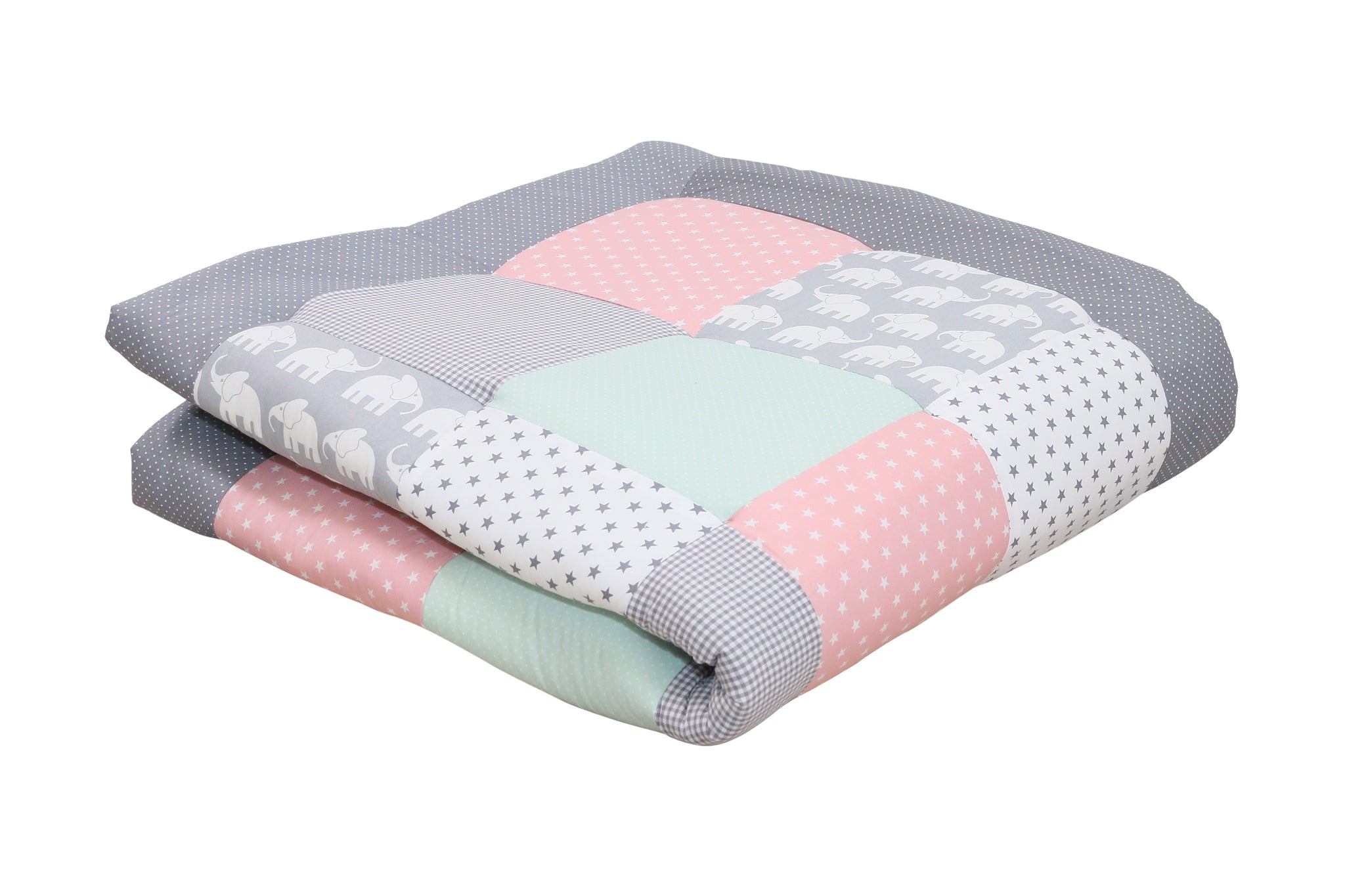 "Padded Baby Play Mat – Soft Cotton Baby Crawling Mat, Elephant Mint Pink, 47"" x 47"""