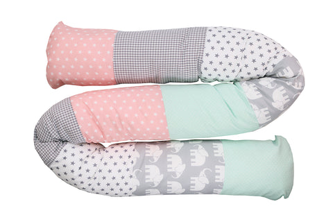Snake Pillow – Bumper Pillow, Long Pillow For Baby, Elephant Mint Pink, 79""
