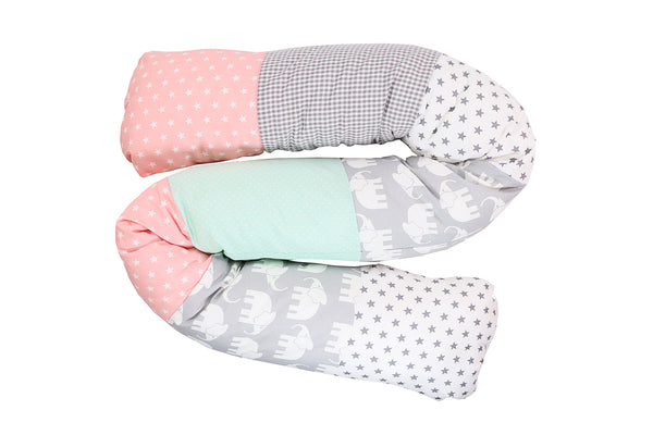 Snake Pillow – Bumper Pillow, Long Pillow For Baby, Elephant Mint Pink, 63""