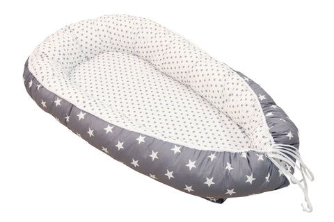 "Baby Lounger – Baby Sleeper Bed, Infant Nest, Grey with Stars, 22"" x 37"""