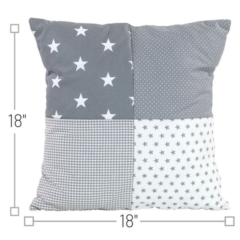 "Nursery Pillow Cover – Organic Cotton Baby Pillow Cover, Grey Stars, 18"" x 18"""