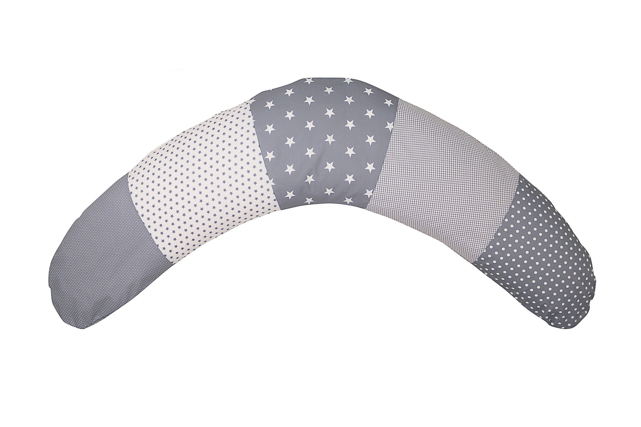 "Organic Nursing Pillow – Best Pregnancy Pillow for Side Sleepers, Grey Stars, 75"" x 15"""