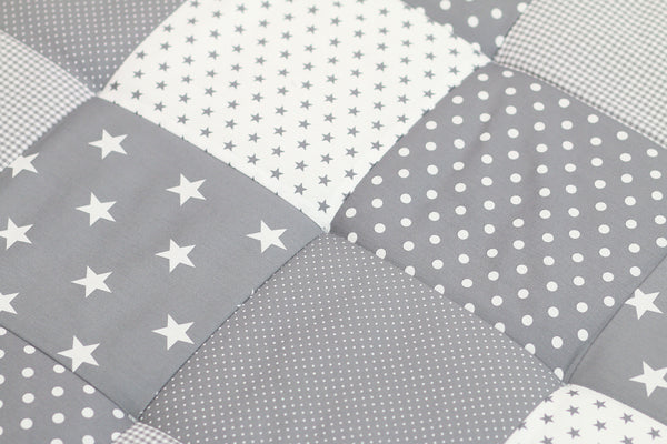 "Padded Baby Play Mat – Soft Cotton Baby Crawling Mat, Grey Stars, 47"" x 47"""