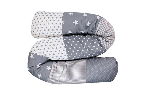 Snake Pillow – Bumper Pillow, Long Pillow For Baby, Grey with Stars, 63""