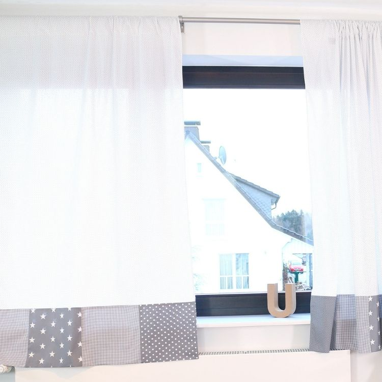 "Baby Room Curtains – 100% Cotton Baby Curtains, Baby Nursery Curtains, Grey with Stars, 110"" x 84"""