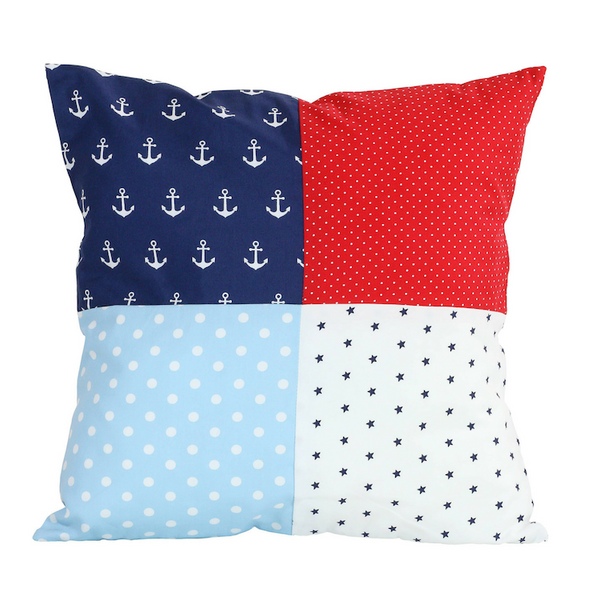 "Nursery Pillow Cover – Organic Cotton Baby Pillow Cover, Anchor Red Blue, 20"" x 20"""