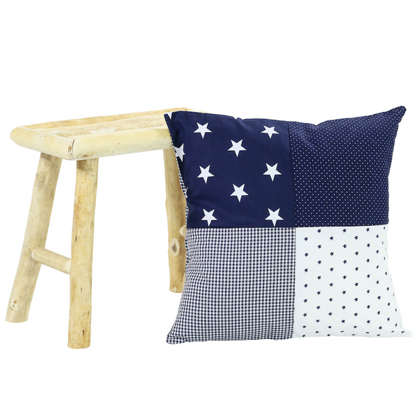 "Nursery Pillow Cover – Organic Cotton Baby Pillow Cover, Blue Stars, 20"" x 20"""