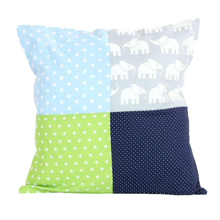 "Nursery Pillow Cover – Organic Cotton Baby Pillow Cover, Elephant Blue Green, 20"" x 20"""