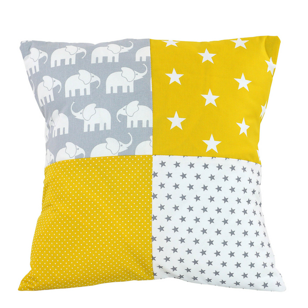 "Nursery Pillow Cover – Organic Cotton Baby Pillow Cover, Elephant Yellow, 20"" x 20"""