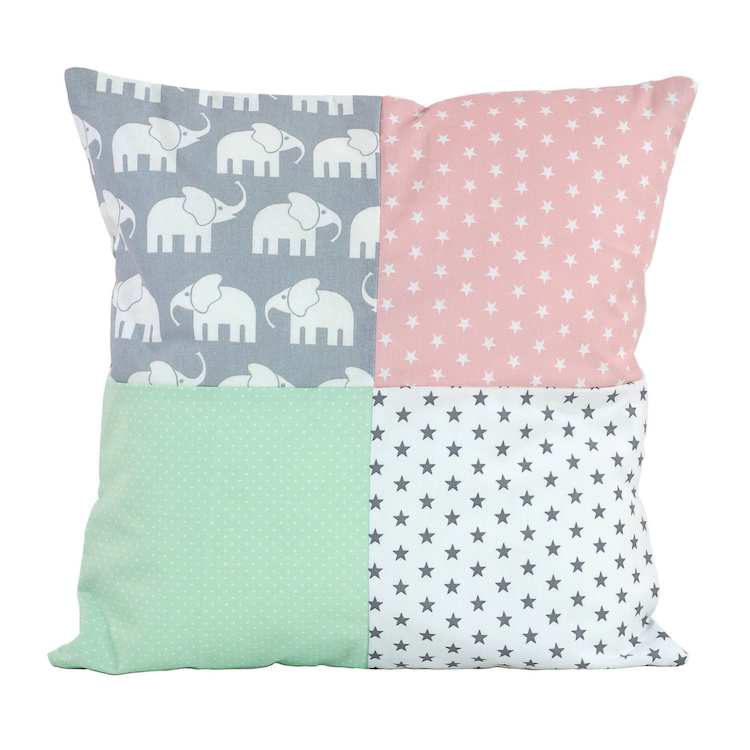 "Nursery Pillow Cover – Organic Cotton Baby Pillow Cover, Elephant Mint Pink, 20"" x 20"""