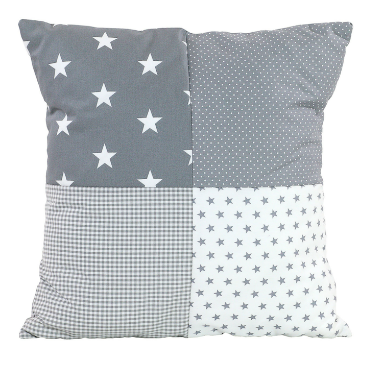 "Nursery Pillow Cover – Organic Cotton Baby Pillow Cover, Grey Stars, 20"" x 20"""