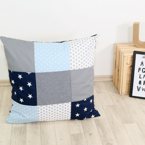 "Pillow Cover & Toddler Pillow Case 26"" x 26"" - Blue Lightblue Grey"