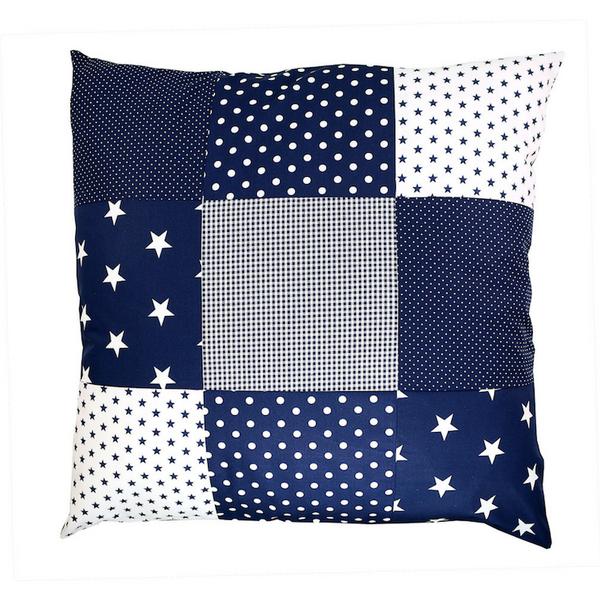 "Nursery Pillow Cover – Organic Cotton Baby Pillow Cover, Blue Stars, 26"" x 26"""