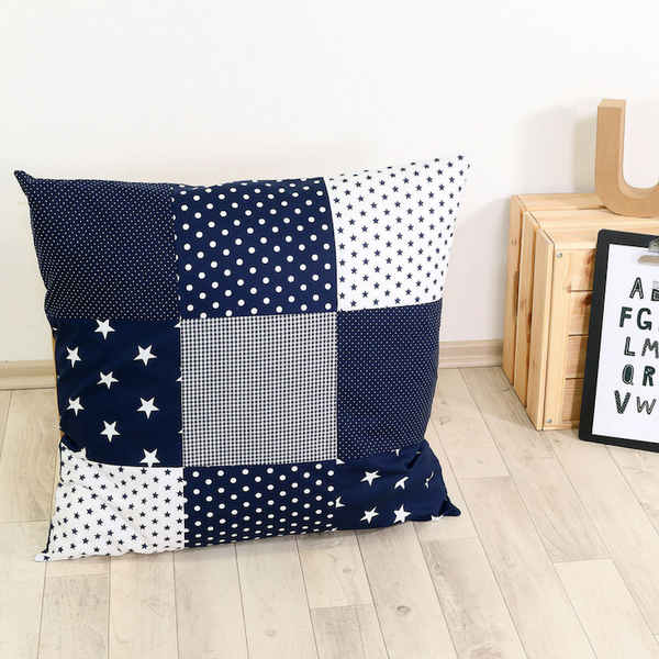 "Pillow Cover & Toddler Pillow Case 26"" x 26"" - Blue Stars"