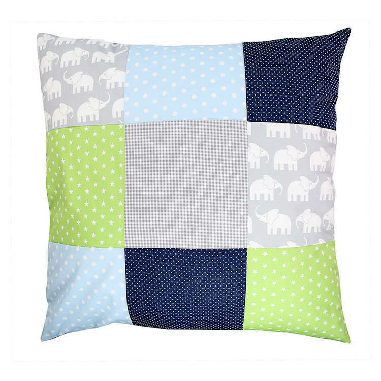 "Pillow Cover & Toddler Pillow Case 26"" x 26"" - Elephant Blue Green"