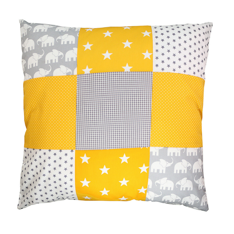 "Nursery Pillow Cover – Organic Cotton Baby Pillow Cover, Elephant Yellow, 26"" x 26"""