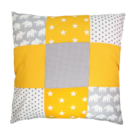 "Pillow Cover & Toddler Pillow Case 26"" x 26"" - Elephant Yellow"