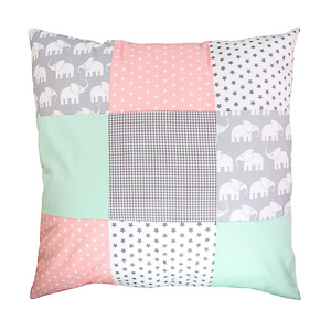 "Nursery Pillow Cover – Organic Cotton Baby Pillow Cover, Elephant Mint Pink, 26"" x 26"""