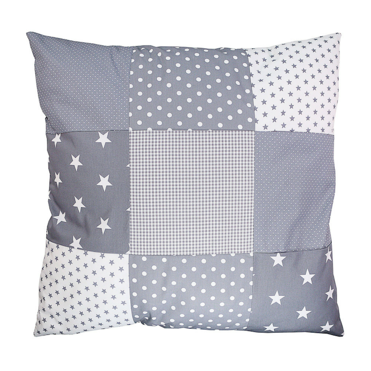 "Nursery Pillow Cover – Organic Cotton Baby Pillow Cover, Grey Stars, 26"" x 26"""