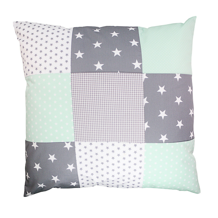 "Nursery Pillow Cover – Organic Cotton Baby Pillow Cover, Mint Grey, 26"" x 26"""