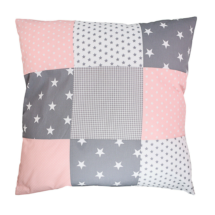 "Nursery Pillow Cover – Organic Cotton Baby Pillow Cover, Pink Grey, 26"" x 26"""