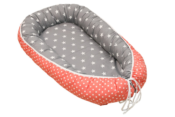 "Baby Lounger – Baby Sleeper Bed, Infant Nest, Coral/ Pink with Stars, 22"" x 37"""