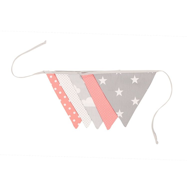 Fabric Banner Nursery Decor – Pennant Banner Decoration, Coral Pink, 6 ft.