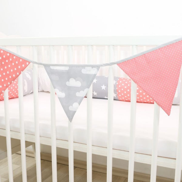 Fabric Banner Nursery Decor – Pennant Banner Decoration, Coral Pink, 4 ft.