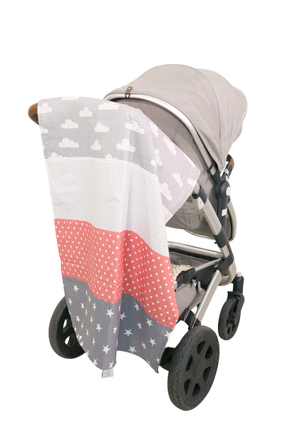 "Luxury Baby Blanket – Organic Cotton Baby Blanket, Clouds Coral, 27"" x 39"""