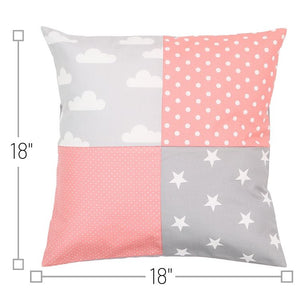 "Nursery Pillow Cover – Organic Cotton Baby Pillow Cover, Clouds Coral, 18"" x 18"""
