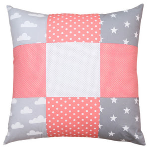 "Nursery Pillow Cover – Organic Cotton Baby Pillow Cover, Clouds Coral, 26"" x 26"""
