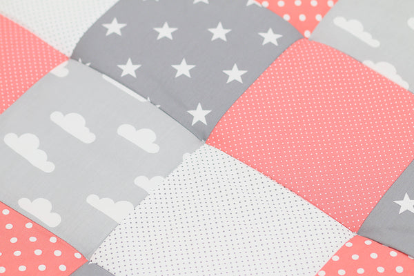 "Padded Baby Play Mat – Soft Cotton Baby Crawling Mat, Coral Clouds, 47"" x 47"""