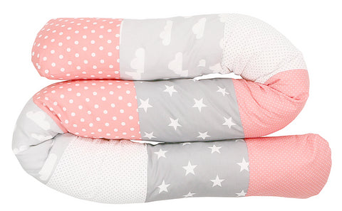 Snake Pillow – Bumper Pillow, Long Pillow For Baby, Clouds Coral, 79""