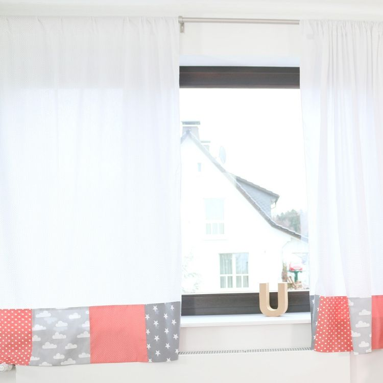 "Baby Room Curtains – 100% Cotton Baby Curtains, Pink and Grey with Clouds, 110"" x 84"""