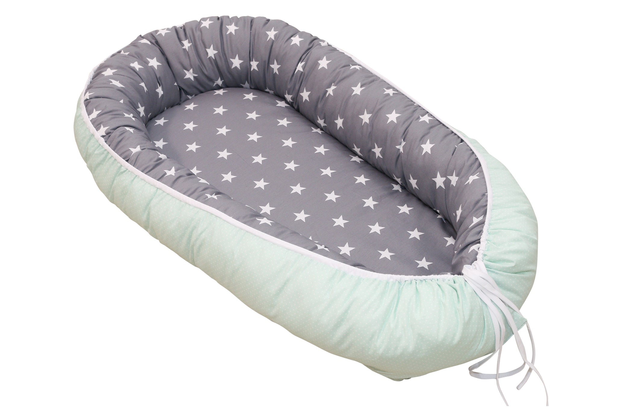 "Baby Lounger – Baby Sleeper Bed, Infant Nest, Mint Grey with Stars, 22"" x 37"""