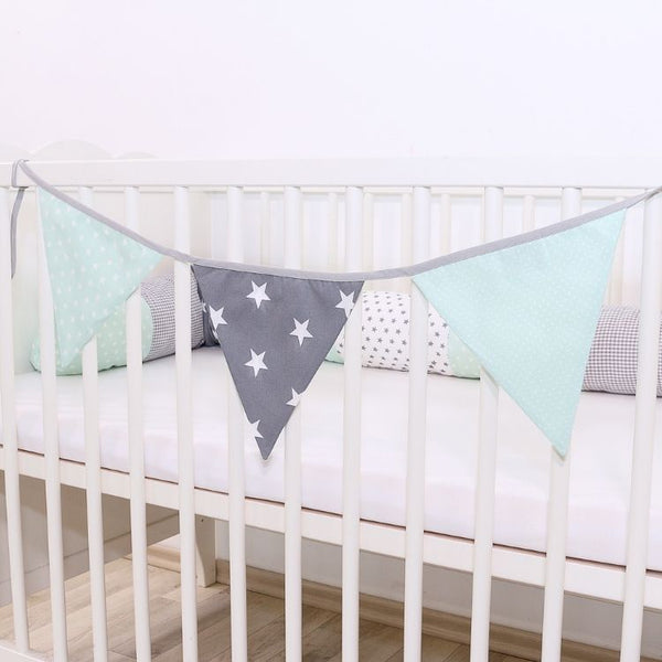 Fabric Banner Nursery Decor – Pennant Banner Decoration, Mint Grey, 4 ft.