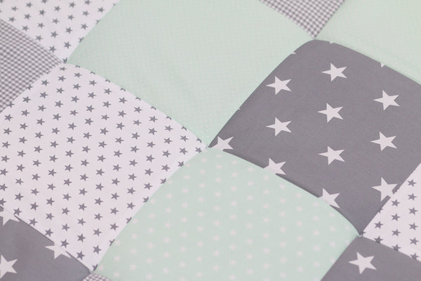 "Padded Baby Play Mat – Soft Cotton Baby Crawling Mat, Mint Grey, 40"" x 40"""