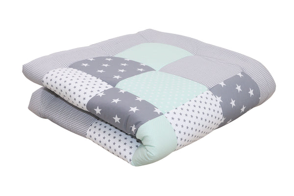 "Padded Baby Play Mat – Soft Cotton Baby Crawling Mat, Mint Grey, 47"" x 47"""